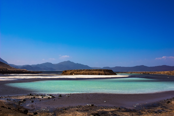 Lac Assal is a salt lake and the lowest point in Africa