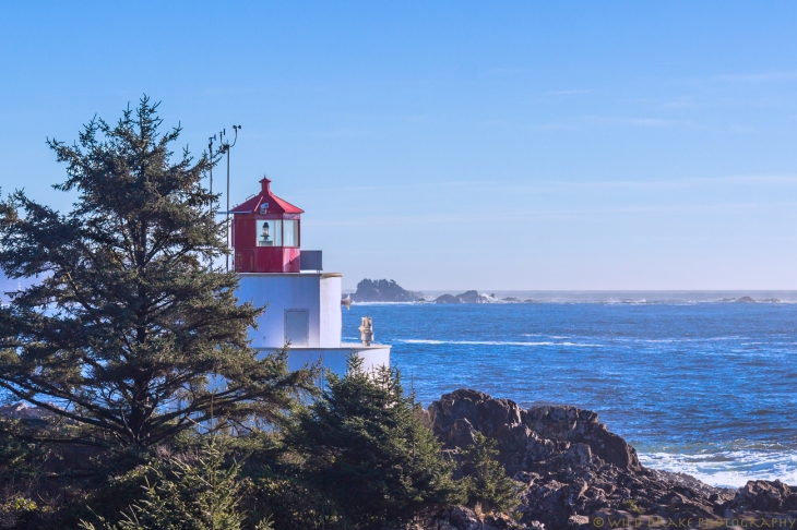 The Amphitrite Point Lighthouse watches over the Graveyard of the Pacific on a sunny day