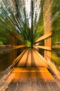 zoom across the wooden bridge