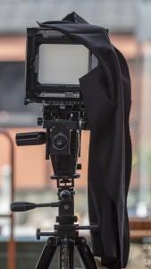 4x5 format film camera on a tripod