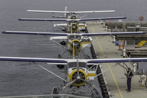 three harbour air float planes and one other lined up in Vancouver harbour