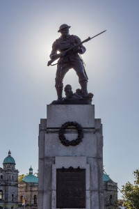 Soldier on top of monument in Remembrance