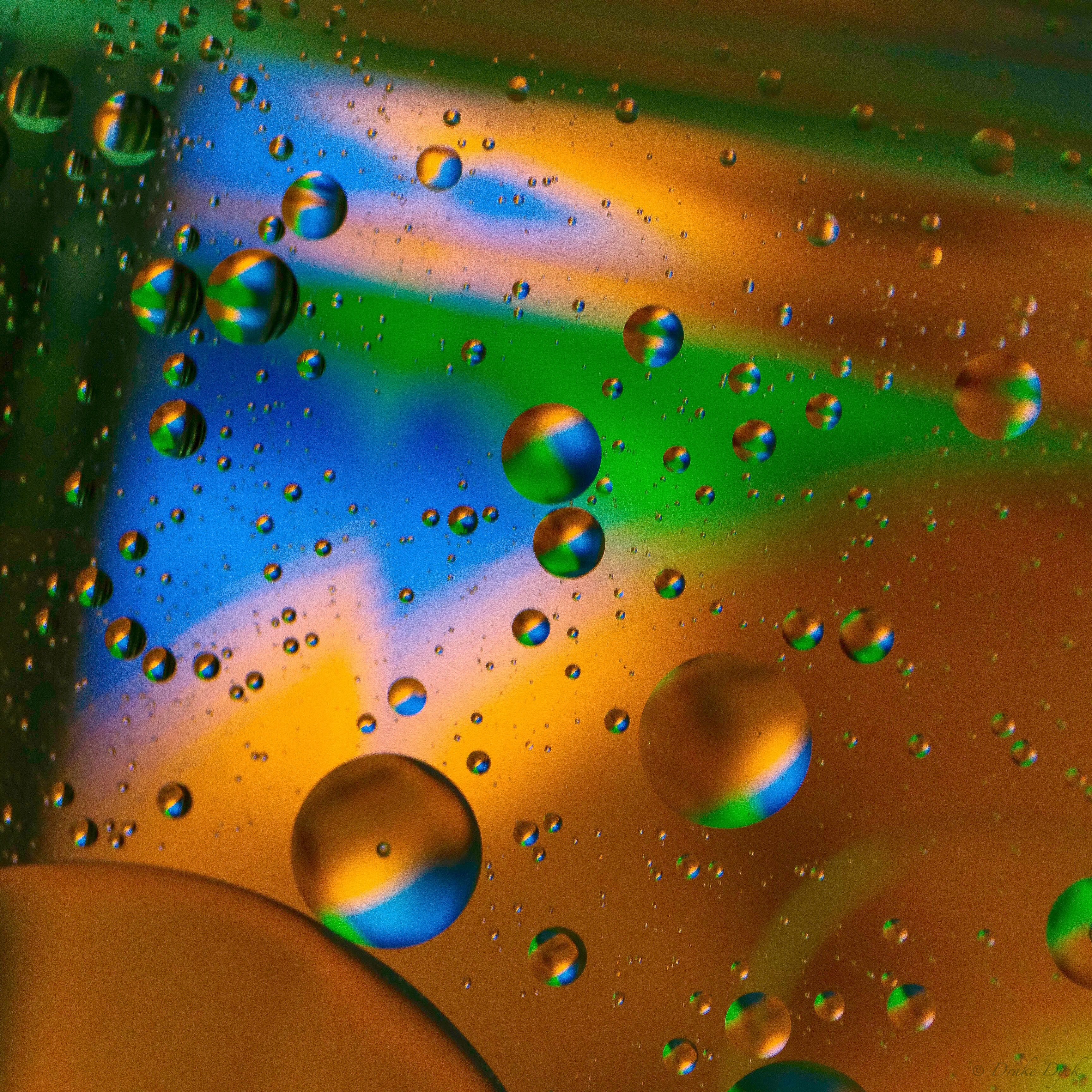 brightly colored oil and water