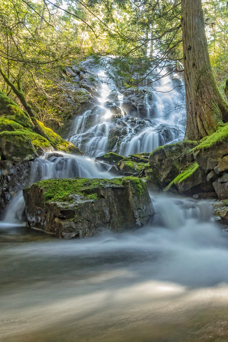water flowing like silk over moss covered rocks at Mary Vine Falls