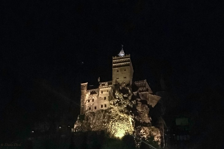 an evil face can be seen in the rock face of Dracula's Castle