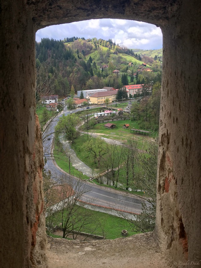 the view of modern roads from an ancient castle