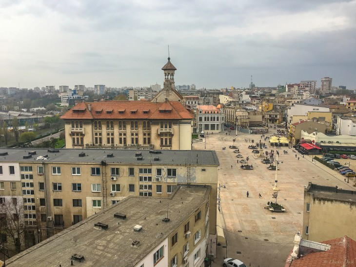 view from the minaret of the pedestrian street in the heart of Constanta
