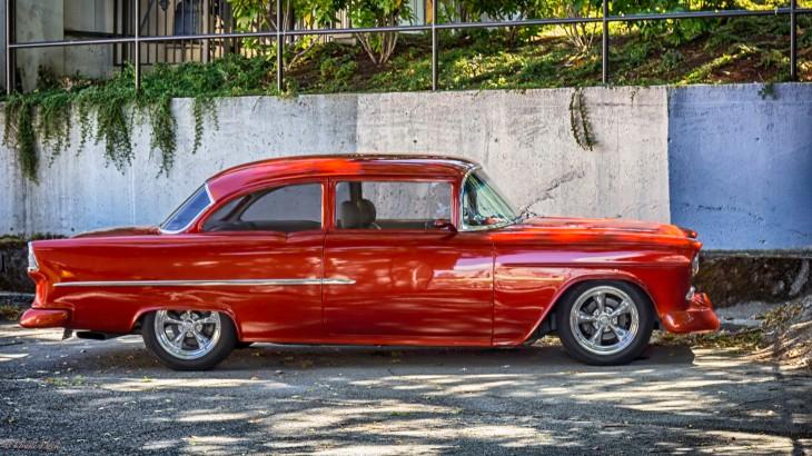 bright orange Chevrolet classic car