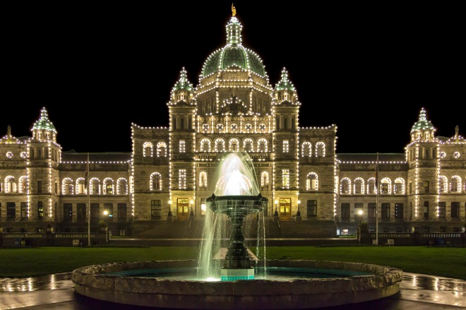 BC Legislature building lit up at night