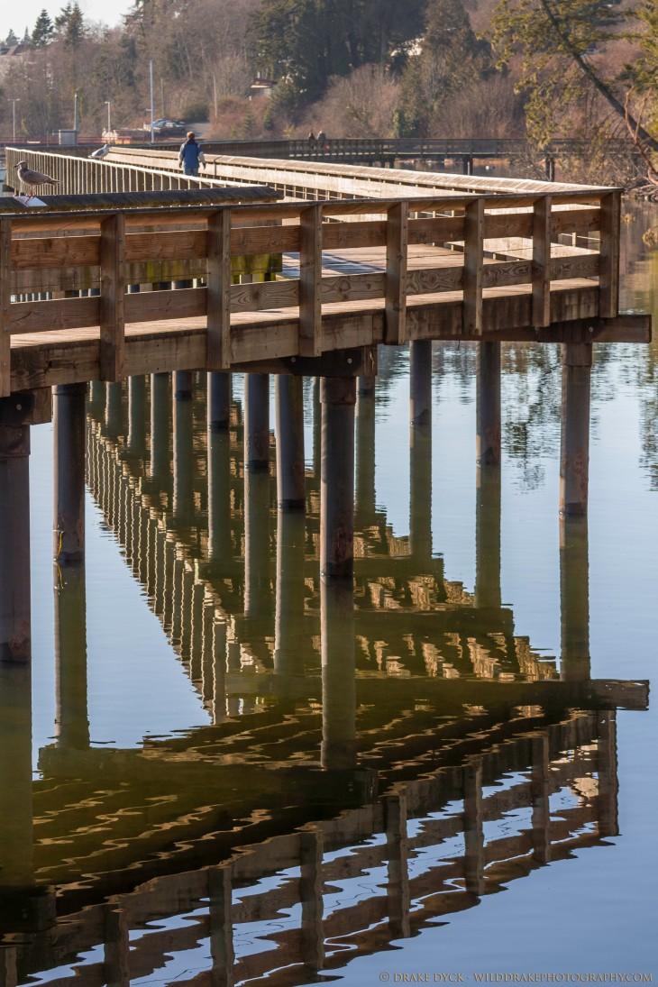 Sooke boardwalk reflecting in the calm waters