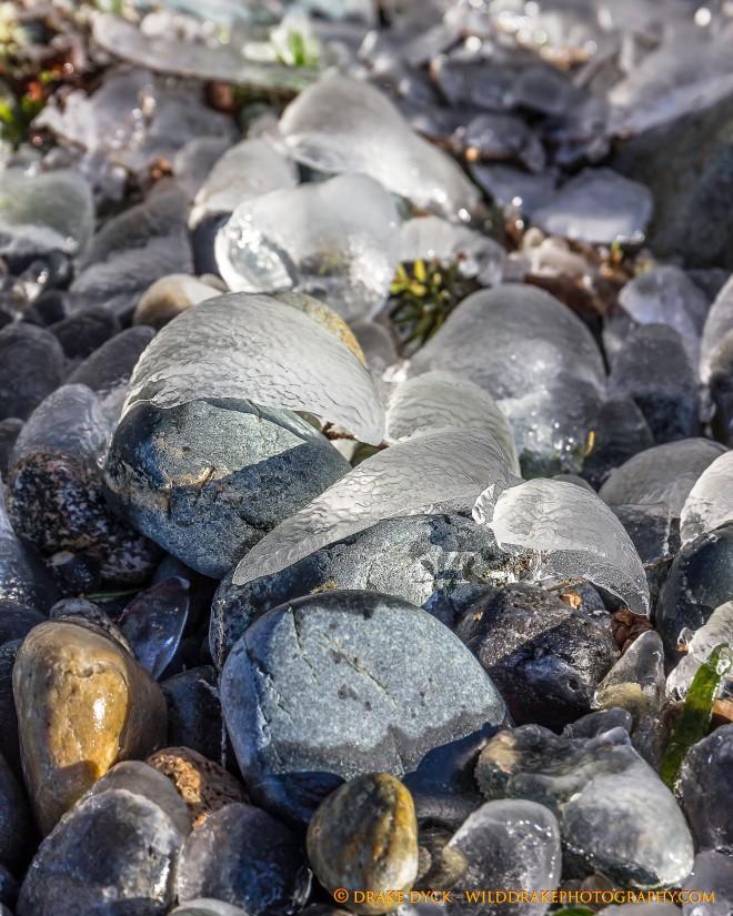Ice capped stones
