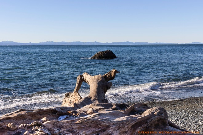 Log on beach overlooking rock and Olympic Peninsula