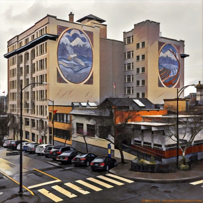 A building with two oval murals