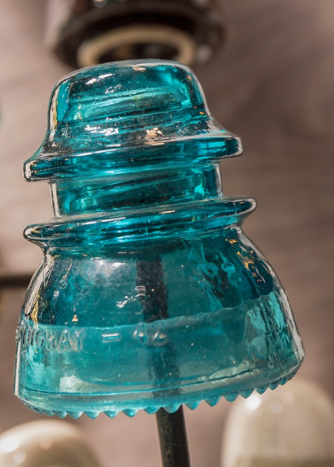 electrical insulator made of blue glass