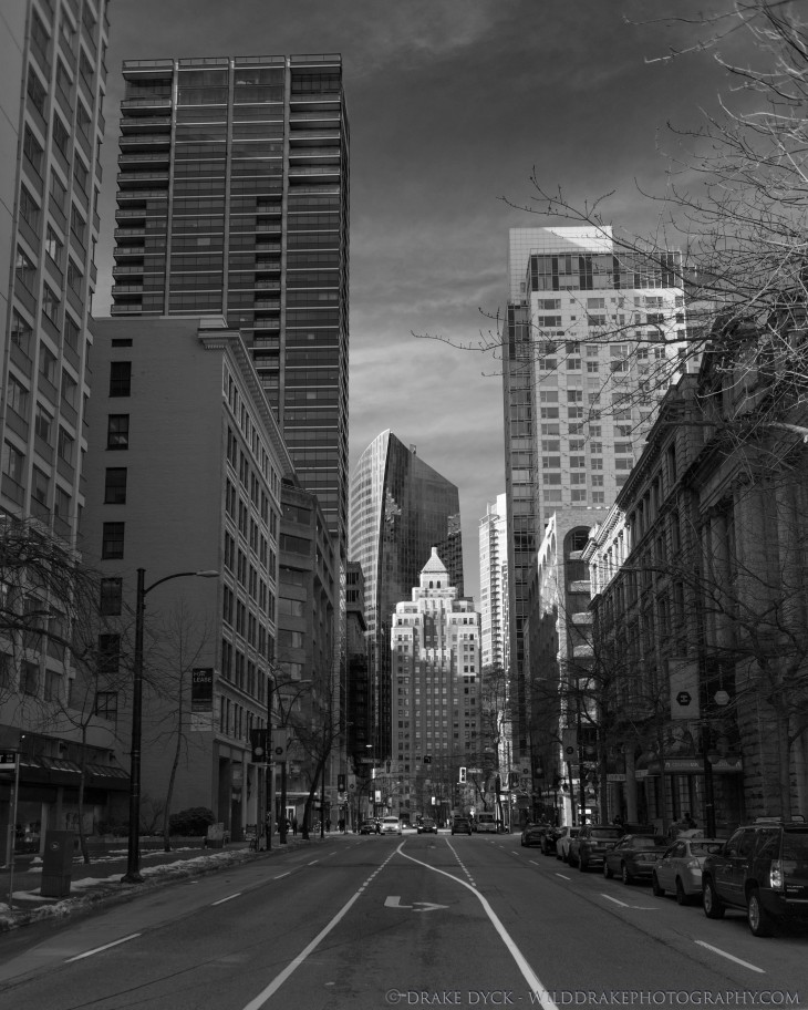 downtown Vancouver skyscrapers and low rise buildings in black and white