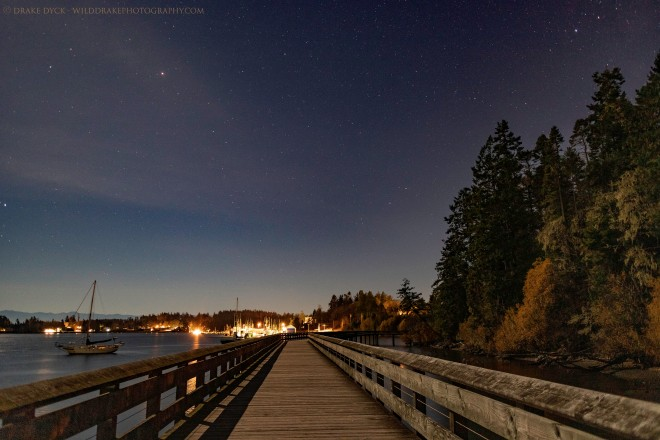 starlight illuminates the Sooke boardwalk