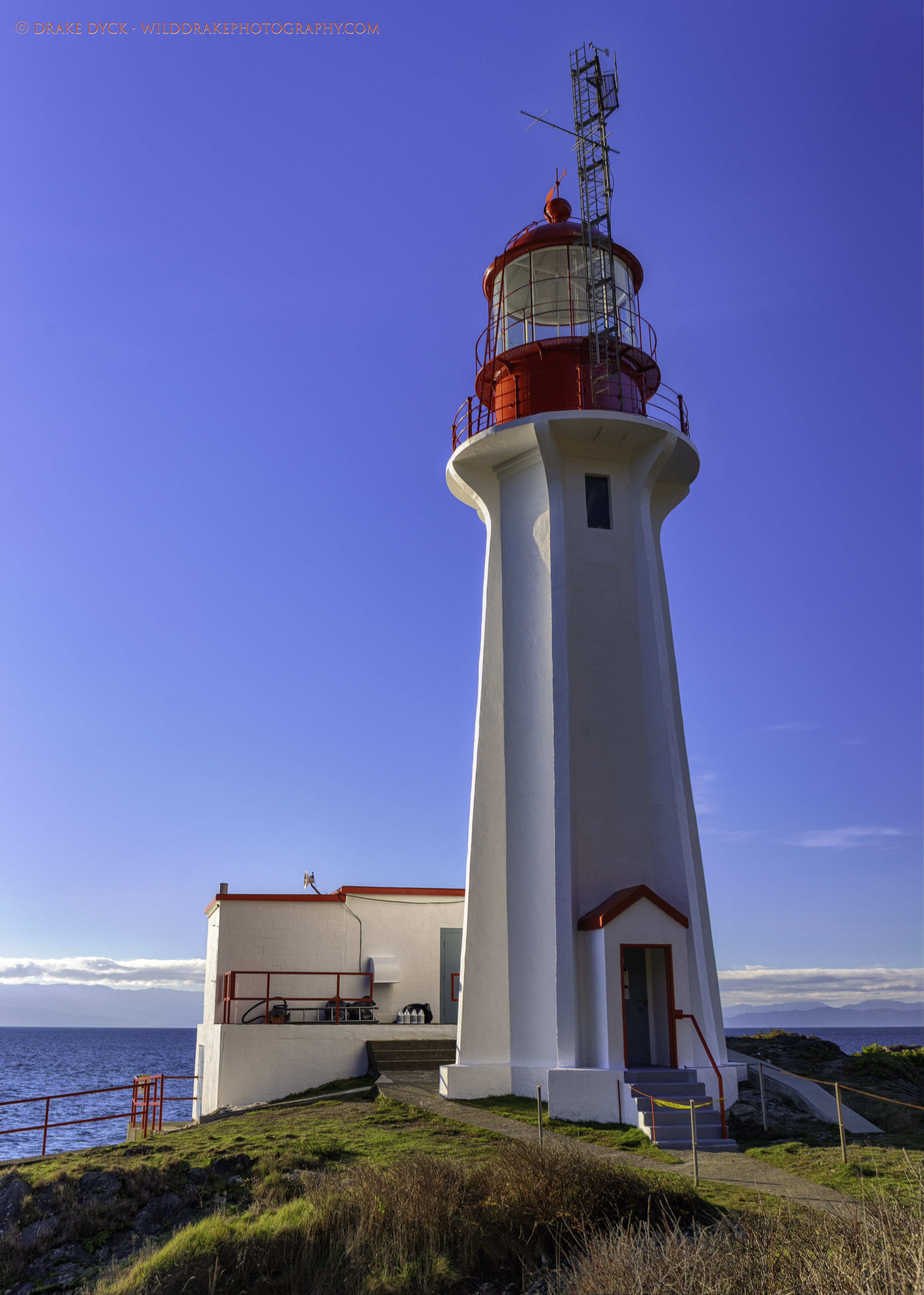 lighthouse at Shirley BC with blue sky