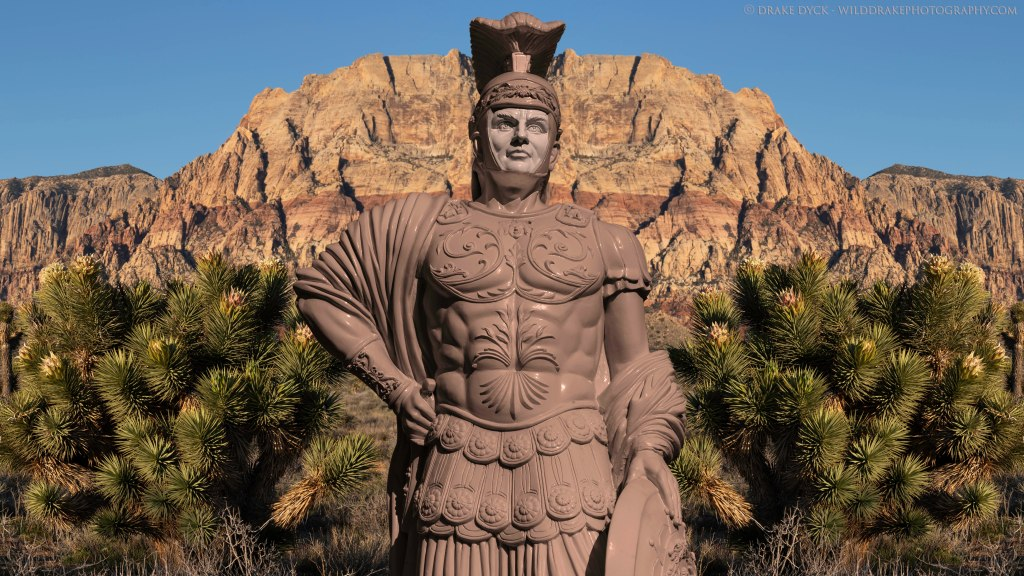 roman statue in the desert in Nevada